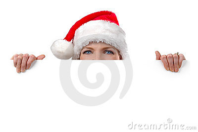 Woman with Santa s hat holding blank sign