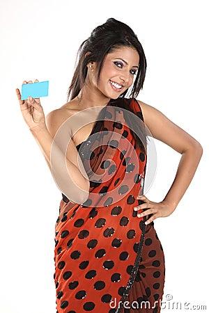 Woman in sari  with credit card