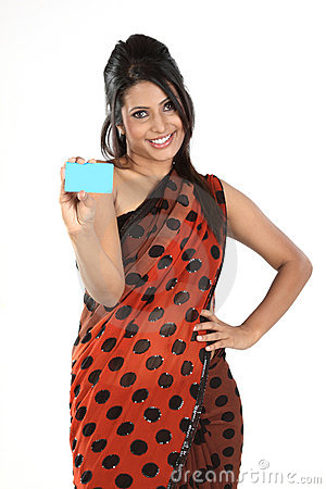 Woman in sari  with credit card