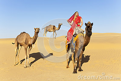 Woman in sari riding a camel.