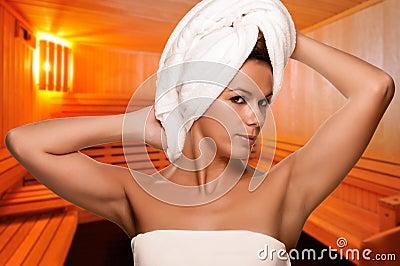 Woman on a Sauna Cabin