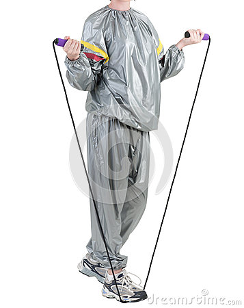 Woman in sauna suit