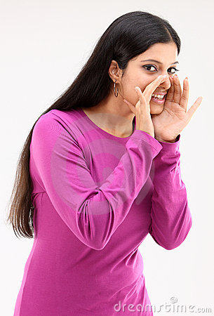 Woman saying secret to others action