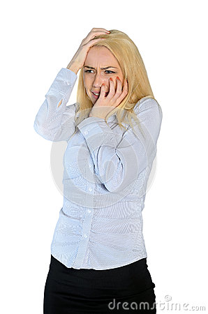 Free Woman Scared Cover Face Stock Images - 49409084
