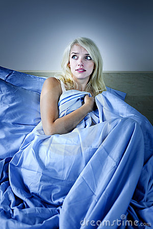 Free Woman Scared In Bed Stock Photos - 21221333