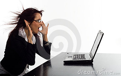 Woman scared of laptop screen
