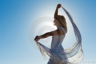 Woman with scarf feeling balanced