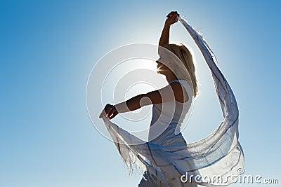 Woman with scarf feeling balanced