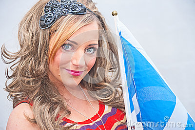 Woman with Scottish flag