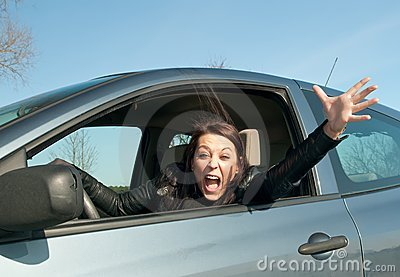 Woman screaming in the car