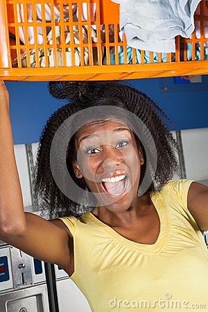 Woman Screaming Carrying Overloaded Basket