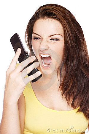 Woman screaming at her phone