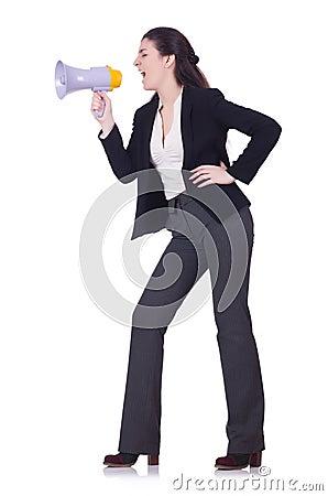 Woman screaming through loudspeaker