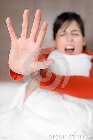 Woman screaming stop abuse
