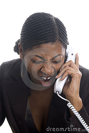 Woman screaming in telephone