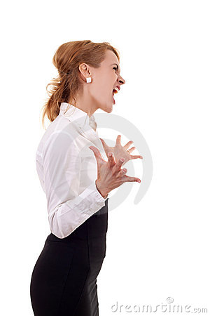 Woman screaming to a side