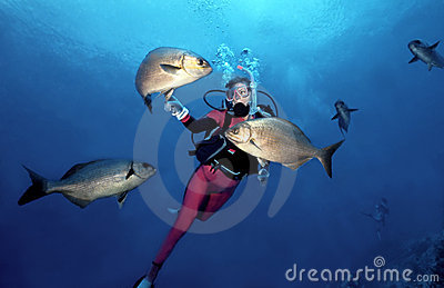 Woman Scuba Diver in Cozumel