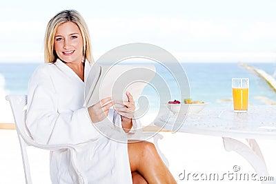 Woman sea view breakfast