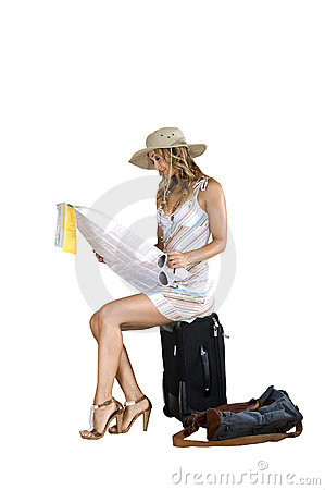 Woman searching for destination