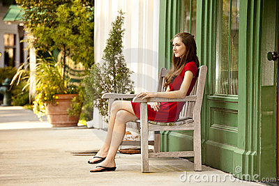 Woman seated outside