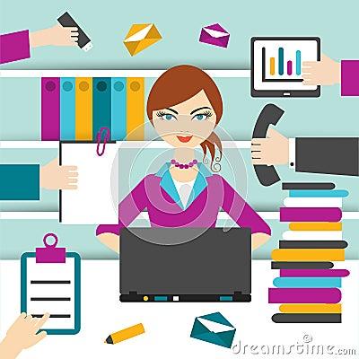 Free Woman Secretary Hard Working. Stock Photos - 55863993