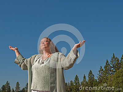 Woman seeking blessing