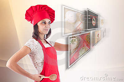 Woman selecting images