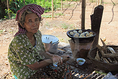 A Woman Selling Cambodian Bun Editorial Stock Photo