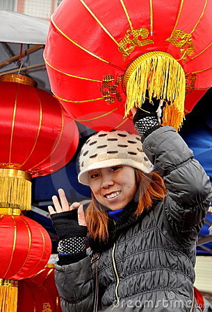 Woman Selling Chinese New Year Lanterns Editorial Image