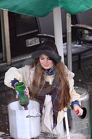 Woman selling hot drinks Editorial Image