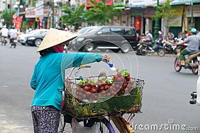 Woman Selling Rambutan in Vietnam Editorial Stock Photo