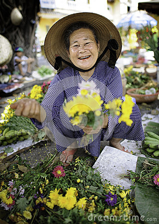 Flower Market in hoi-an vietnam Editorial Stock Photo