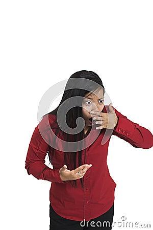 Woman sensing bad smell