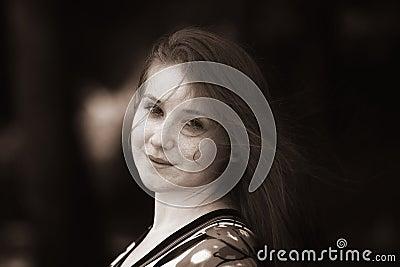 Woman sepia portrait
