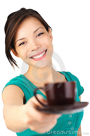 Woman serving coffee