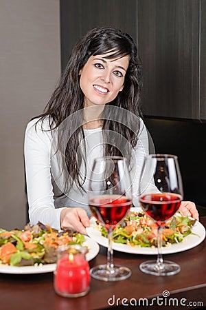 Woman serving dinner