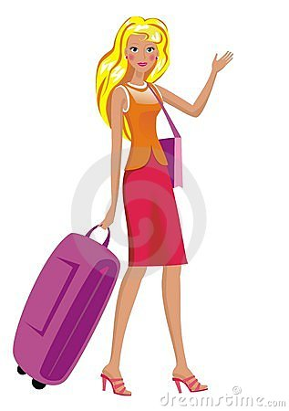 A woman sets forth for a trip