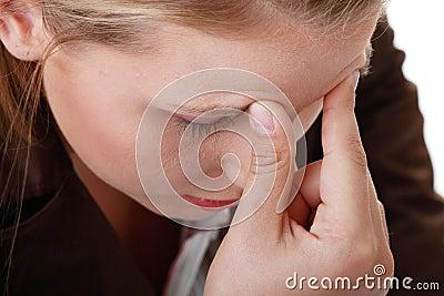Woman with severe Migraine Headache