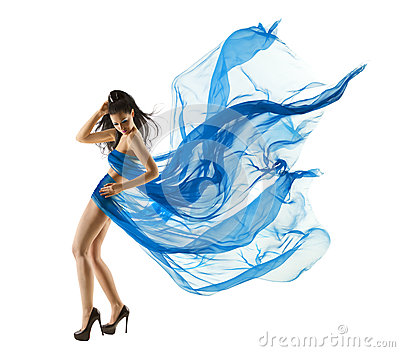 Woman sexy dancing in blue dress fashion model fluttering fabric