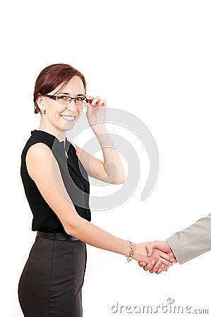 Woman shaking hand