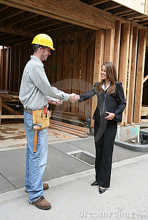 Free Woman Shaking Hands With Construction Man Royalty Free Stock Photos - 2084038