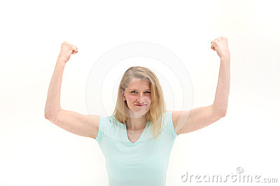 Woman shaking her fists in frustration