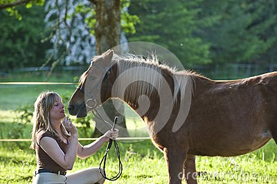 Woman and Shetland pony
