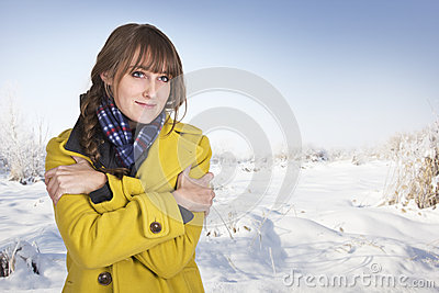 Woman Shivering on a cold winter day