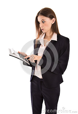 Free Woman Shocked About Increasing Costs Holding A Pocket Calculator Stock Photos - 45934793
