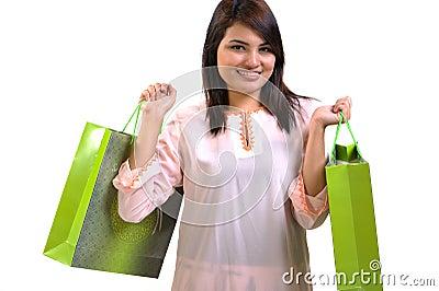 Woman and shopping bag