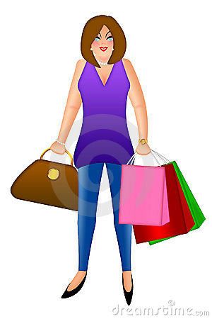 Woman with Shopping Bags and Handbag Purse