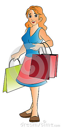 Woman with Shopping Bags, illustration