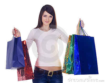 Woman with shopping bags over white