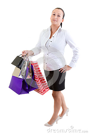 Woman with shopping bags over white background